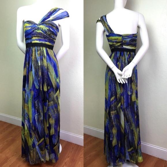 BCBGMaxAzria Inga Printed Silk Grecian Gown